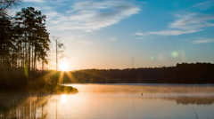 Lake Crabtree Fog Golden Morning Sun in Raleigh NC Stock Footage