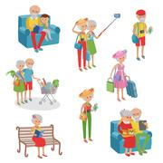 Vector set of characters in a flat style. Cartoon  elderly. Grandmothers Stock Illustration