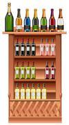 Champagne and wine bottles on shelves Stock Illustration