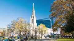 Tilting-up to First Baptist Church Tower of Raleigh NC Stock Footage