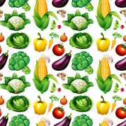 Seamless background with many vegetables Stock Illustration