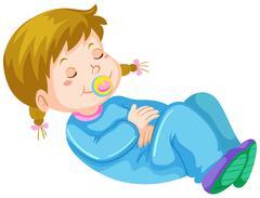 Girl toddler having nap Stock Illustration