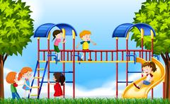 Children playing in the playground at daytime Stock Illustration