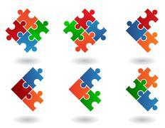 Jigsaw puzzle icons Stock Illustration
