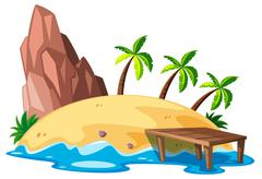 Nature scene with island and ocean Stock Illustration