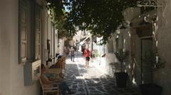 Pretty alley in Parikia, Greece Stock Footage