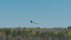 Small Generic Private Airplane Landing at RDU Airport Stock Footage