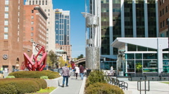 Tall Buildings and People in Downtown Raleigh NC Stock Footage