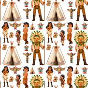 Seamless background with native american indians Stock Illustration