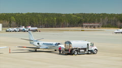 Generic Business Jet Refueled at Raleigh-Durham International Airport Stock Footage