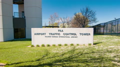 RDU Airport FAA Air Traffic Control Tower Signage Stock Footage
