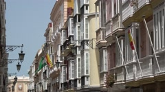 View of a narrow street in spanish city cadiz Stock Footage