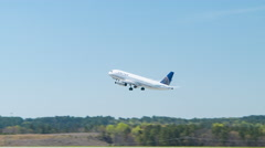 United Airlines A320 Taking-off from Raleigh-Durham International Airport RDU Stock Footage