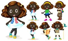 African American girl doing different activities Stock Illustration