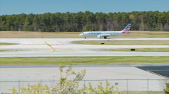 AA Embraer 190 Jet at Raleigh-Durham International Airport RDU Stock Footage