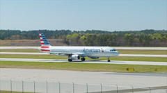 American Airlines A321 at Raleigh-Durham International Airport RDU Stock Footage