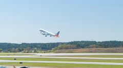 American Airlines A321 Taking-off from Raleigh-Durham International Airport RDU Stock Footage