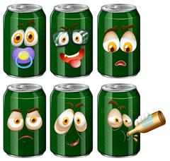 Green cans with facial expression Stock Illustration