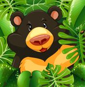 Grizzly bear in the bush Stock Illustration