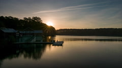 Lake Johnson Golden Sunrise in Raleigh NC Stock Footage