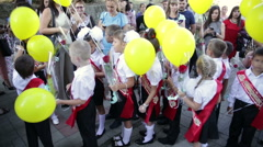 Many first-graders with balloons. School. First Grade. 1 September Stock Footage