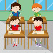 Students writing and learning at school Stock Illustration