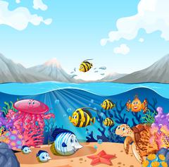 Nature scene with fish and turtle Stock Illustration