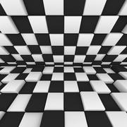 Abstract image: black and white cubes 3D illustration Stock Illustration