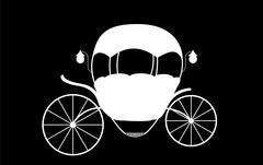 Black and White Cinderella Fairytale carriage. Vector Illustrati Stock Illustration