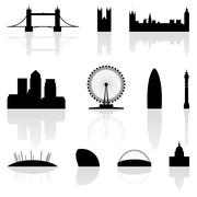 London famous landmarks Stock Illustration