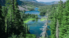 Time Lapse - Aerial View at Twin Lakes at Mammoth Lakes, California Stock Footage