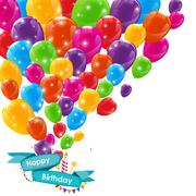 Happy Birthday Card Template with Balloons, Ribbon and Candle Ve Piirros