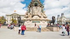 Tourists Taking Photos at Mirador de Colom in Barcelona Spain Stock Footage