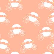 Princess Cinderella Fairytale Carriage. Seamless Pattern. Vector Stock Illustration