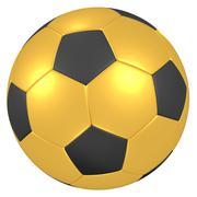 Gold soccer ball 3D illustration Stock Illustration