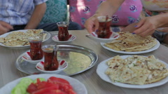 Turkish traditional family dinner Stock Footage