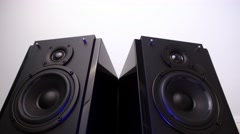 Loudspeaker On gray Stock Footage
