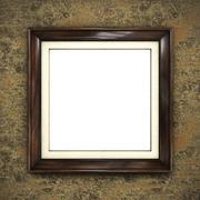 Wooden frame on color wallpaper Stock Illustration