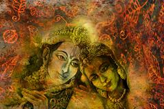 Radha and krishna hindu couple on abstract decorative background Stock Illustration