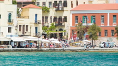Chania Crete Greece Old Waterfront Town Scene Stock Footage