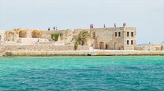 Chania Crete Old Greek Harbor Fort with Tourists Stock Footage