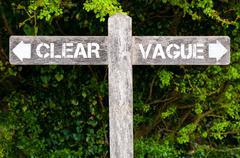 CLEAR versus VAGUE directional signs Stock Photos