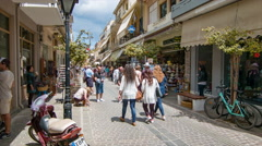 Greek Island Shopping Street Scene in Chania Crete Stock Footage