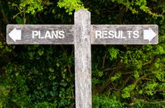 PLANS versus RESULTS directional signs Stock Photos
