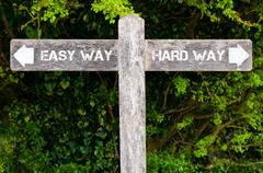 Easy Way versus Hard Way directional signs Stock Photos