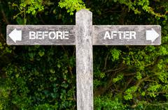BEFORE versus AFTER directional signs Stock Photos