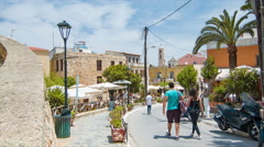 Vibrant Greek Island Street Scene in Chania Crete Stock Footage