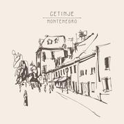 Sepia hand drawing of Cetinje street - ancient capital in Monten Stock Illustration