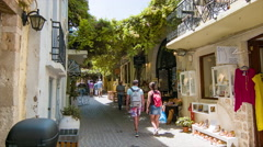 Tourists Shopping in Chania on Crete Island Greece Stock Footage