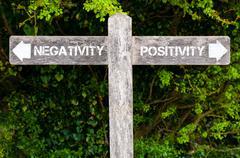 NEGATIVITY versus POSITIVITY directional signs Stock Photos